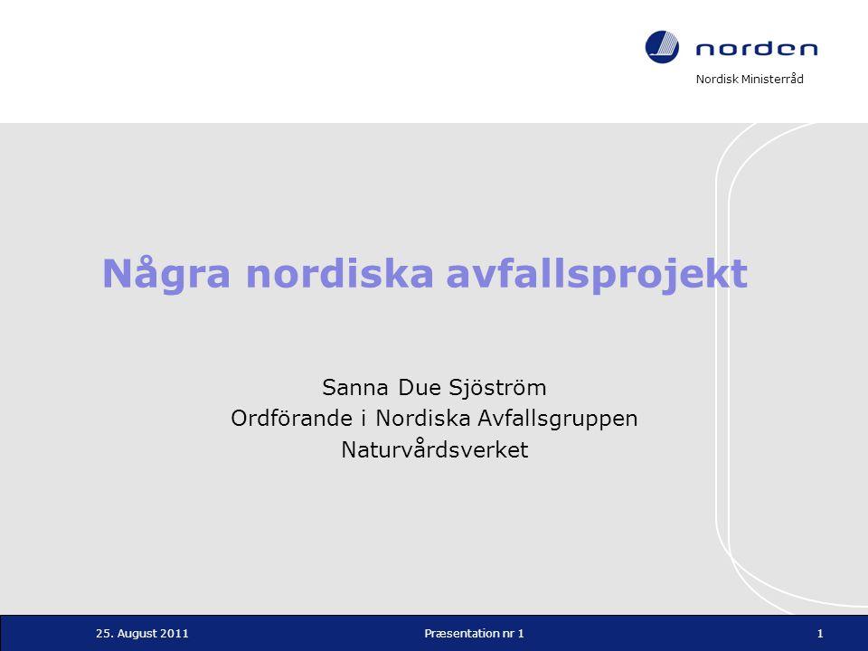 Nordisk Ministerråd Projekt 2: Nordisk strategi Målet med projektet är att föreslå en gemensam nordisk strategi för för insamling, sortering, återvinning och återanvändning av textilier Miljövinster Nya gröna jobb och en konkurrensfördel för Norden Underlag för åtgärder och styrmedel 12