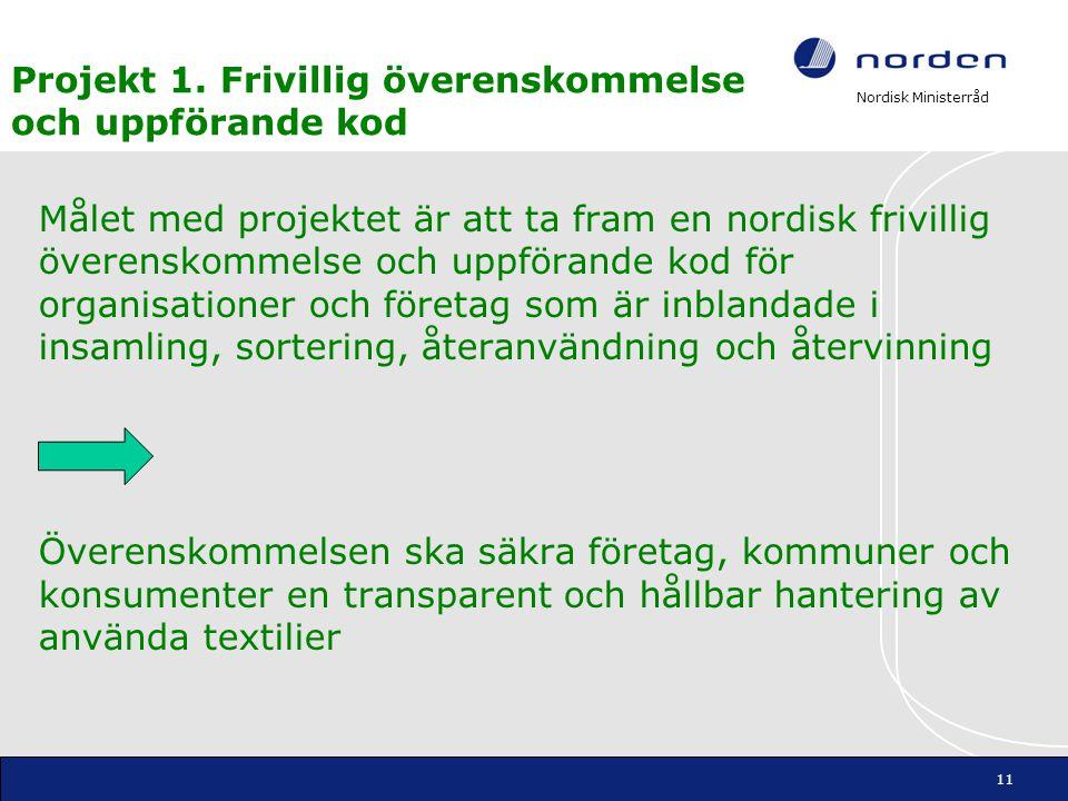Nordisk Ministerråd Projekt 1. Frivillig överenskommelse och uppförande kod Målet med projektet är att ta fram en nordisk frivillig överenskommelse oc