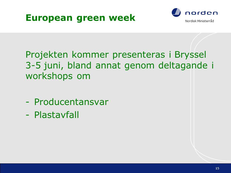 Nordisk Ministerråd European green week Projekten kommer presenteras i Bryssel 3-5 juni, bland annat genom deltagande i workshops om -Producentansvar