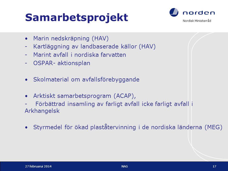 Nordisk Ministerråd Samarbetsprojekt •Marin nedskräpning (HAV) -Kartläggning av landbaserade källor (HAV) -Marint avfall i nordiska farvatten -OSPAR-