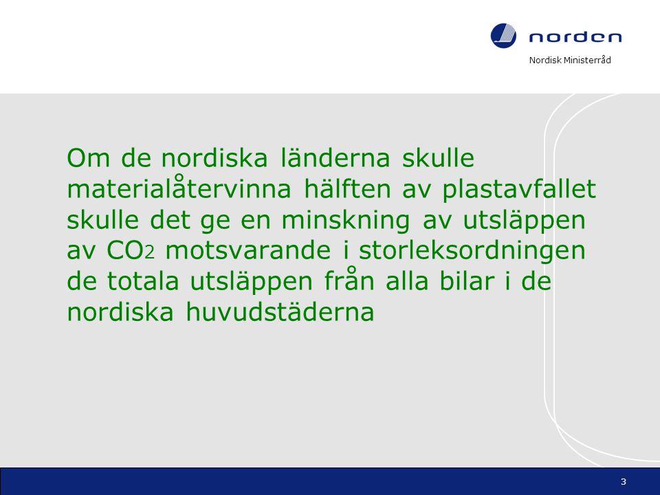 Nordisk Ministerråd Om de nordiska länderna skulle materialåtervinna hälften av plastavfallet skulle det ge en minskning av utsläppen av CO 2 motsvara