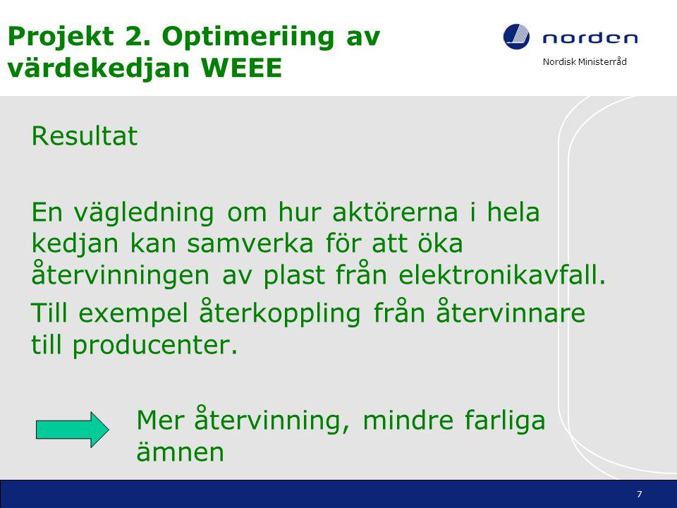 Nordisk Ministerråd Projekt 2. Optimeriing av värdekedjan WEEE Resultat En vägledning om hur aktörerna i hela kedjan kan samverka för att öka återvinn