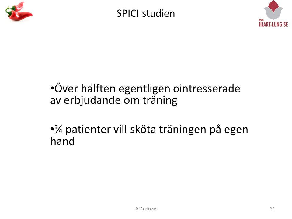 SPICI studien 23R.Carlsson • Över hälften egentligen ointresserade av erbjudande om träning • ¾ patienter vill sköta träningen på egen hand