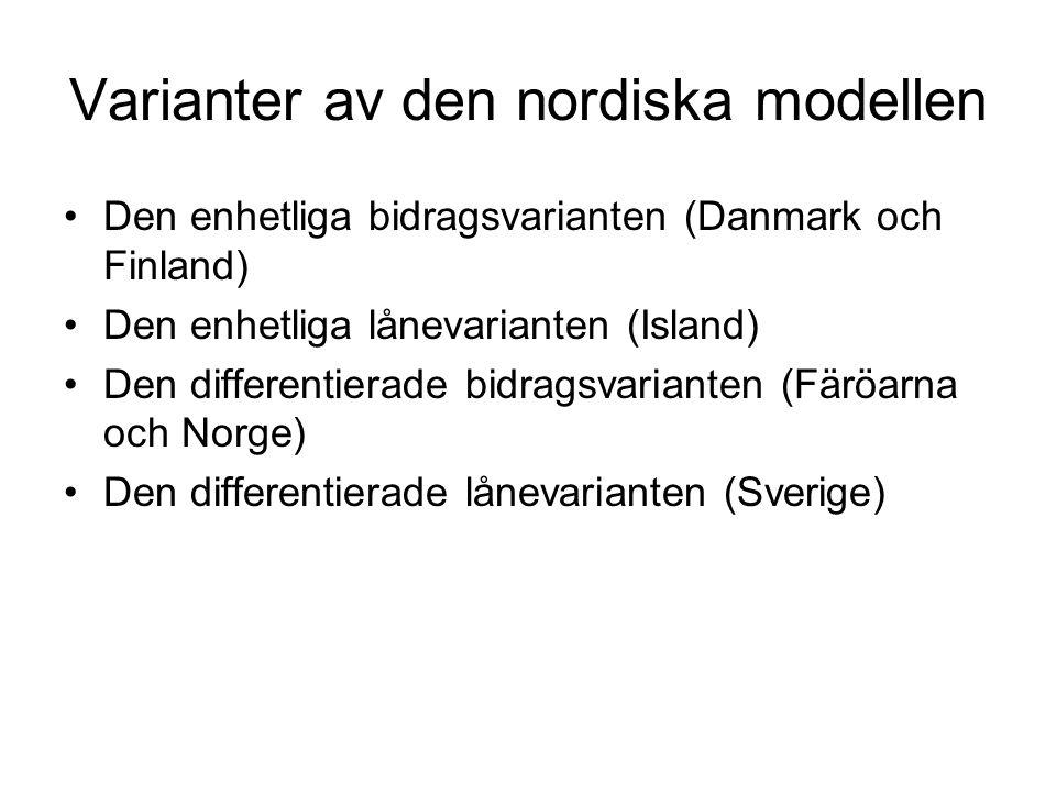 Varianter av den nordiska modellen •Den enhetliga bidragsvarianten (Danmark och Finland) •Den enhetliga lånevarianten (Island) •Den differentierade bidragsvarianten (Färöarna och Norge) •Den differentierade lånevarianten (Sverige)
