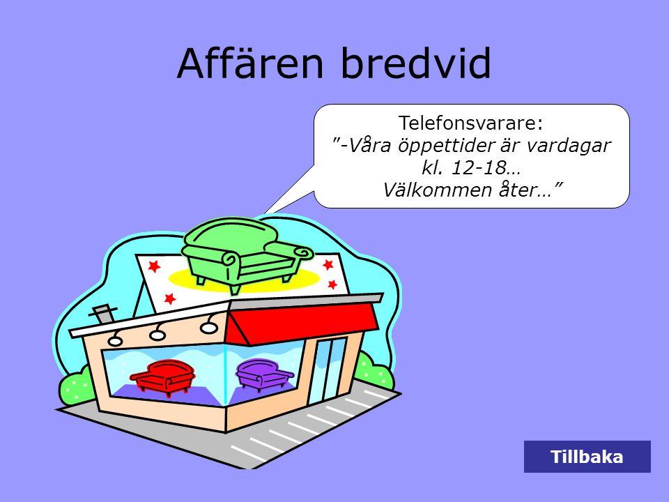 """Tillbaka Affären bredvid Telefonsvarare: """"-Våra öppettider är vardagar kl. 12-18… Välkommen åter…"""""""