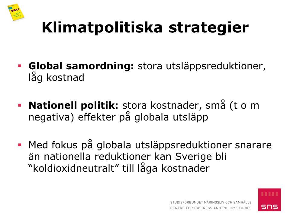 Klimatpolitiska strategier  Global samordning: stora utsläppsreduktioner, låg kostnad  Nationell politik: stora kostnader, små (t o m negativa) effekter på globala utsläpp  Med fokus på globala utsläppsreduktioner snarare än nationella reduktioner kan Sverige bli koldioxidneutralt till låga kostnader