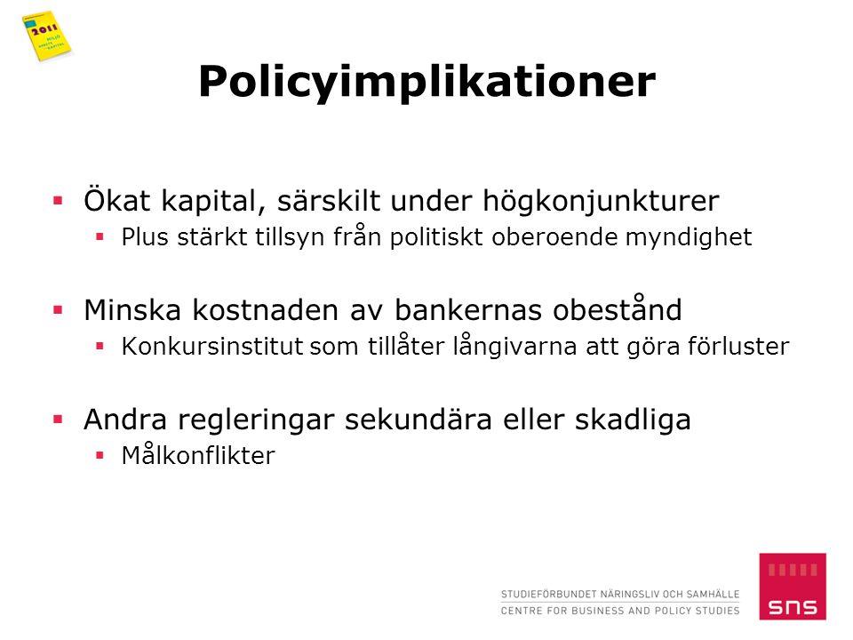 Policyimplikationer  Ökat kapital, särskilt under högkonjunkturer  Plus stärkt tillsyn från politiskt oberoende myndighet  Minska kostnaden av bankernas obestånd  Konkursinstitut som tillåter långivarna att göra förluster  Andra regleringar sekundära eller skadliga  Målkonflikter