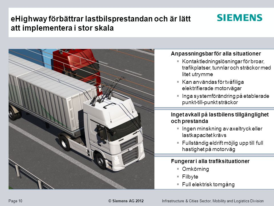 Infrastructure & Cities Sector, Mobility and Logistics DivisionPage 10 © Siemens AG 2012 Anpassningsbar för alla situationer  Kontaktledningslösninga
