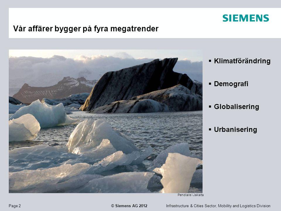 Infrastructure & Cities Sector, Mobility and Logistics DivisionPage 2 © Siemens AG 2012 Vår affärer bygger på fyra megatrender  Klimatförändring  De