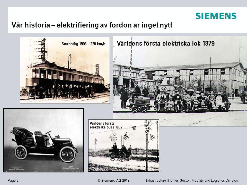 Infrastructure & Cities Sector, Mobility and Logistics DivisionPage 3 © Siemens AG 2012 Vår historia – elektrifiering av fordon är inget nytt