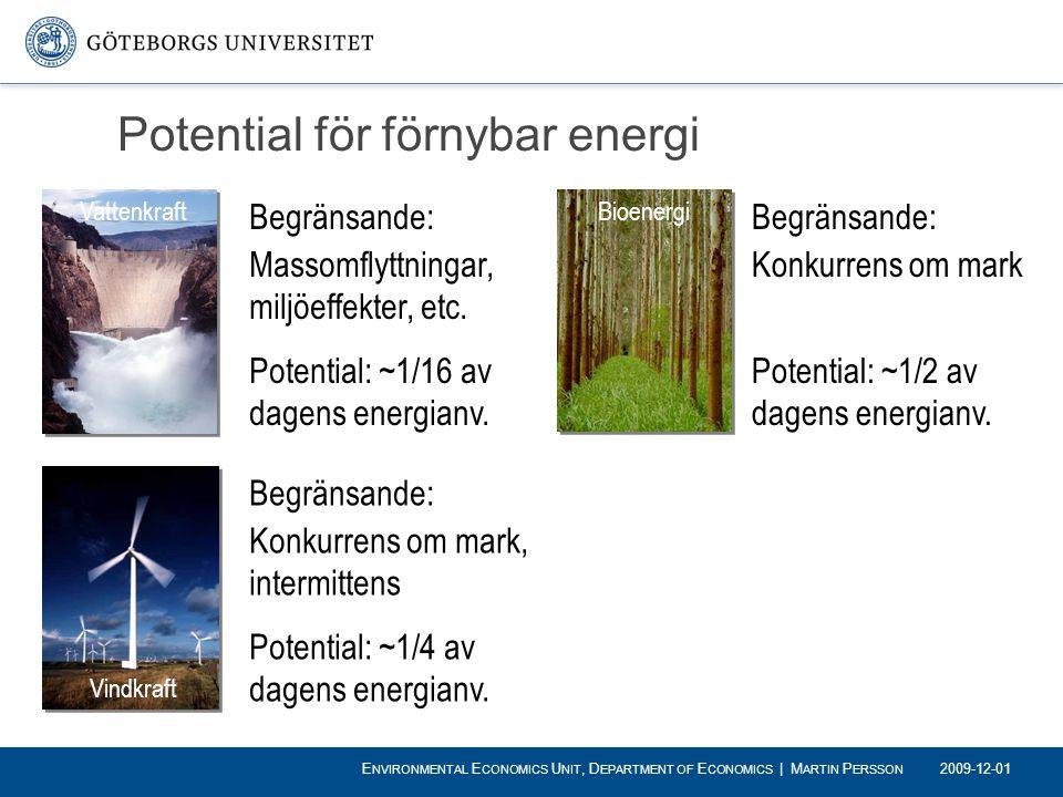 Potential för förnybar energi Begränsande: Massomflyttningar, miljöeffekter, etc. Potential: ~1/16 av dagens energianv. Begränsande: Konkurrens om mar