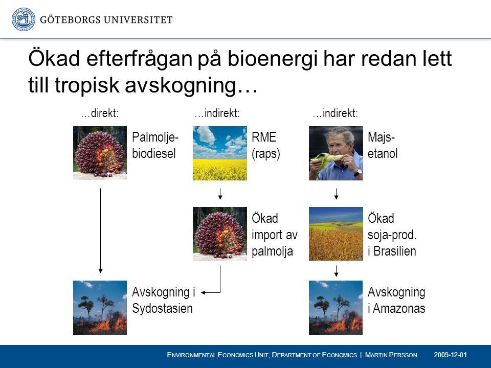 Ökad efterfrågan på bioenergi har redan lett till tropisk avskogning… …direkt: Palmolje- biodiesel …indirekt: Avskogning i Sydostasien RME (raps) …ind