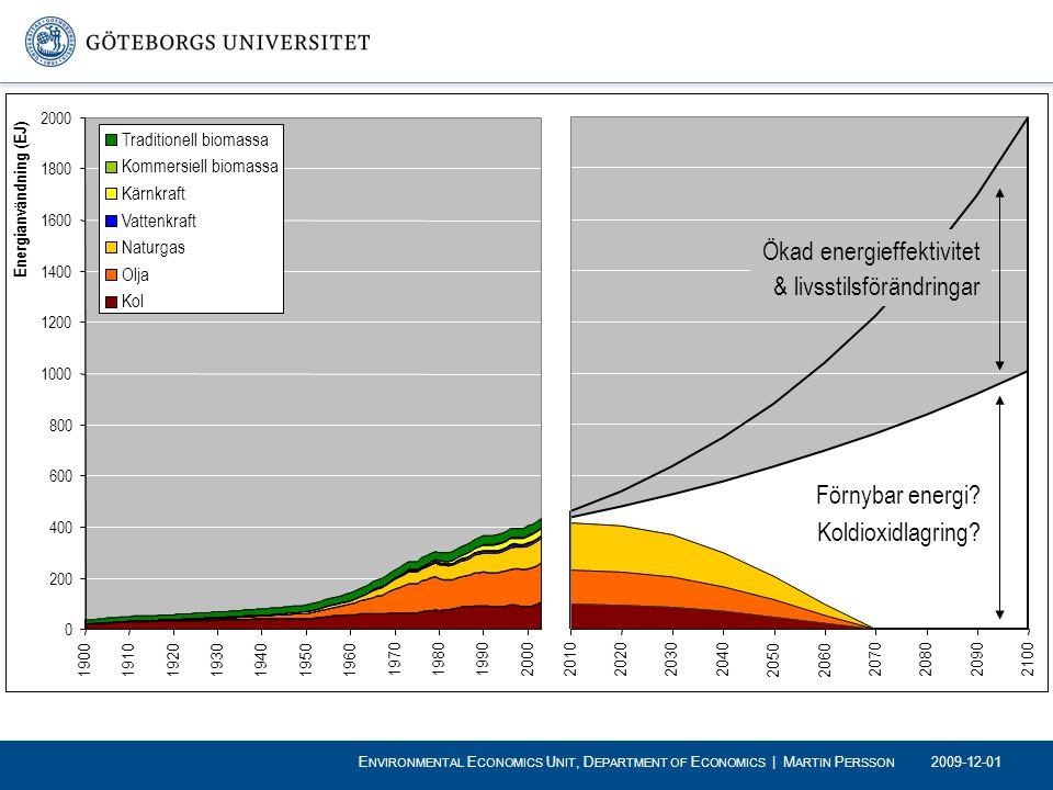 Förnybar energi? Koldioxidlagring? Ökad energieffektivitet & livsstilsförändringar 2009-12-01 E NVIRONMENTAL E CONOMICS U NIT, D EPARTMENT OF E CONOMI