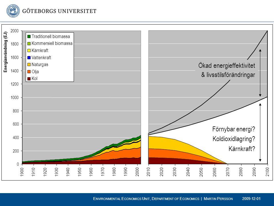 Förnybar energi? Koldioxidlagring? Kärnkraft? Ökad energieffektivitet & livsstilsförändringar 2009-12-01 E NVIRONMENTAL E CONOMICS U NIT, D EPARTMENT