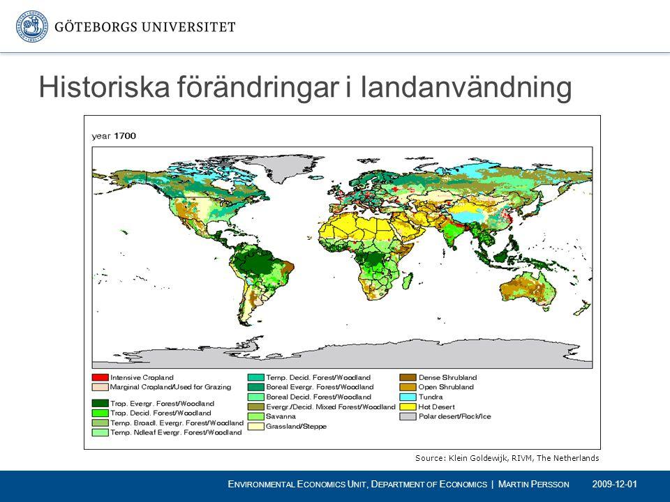 Historiska förändringar i landanvändning Source: Klein Goldewijk, RIVM, The Netherlands 2009-12-01 E NVIRONMENTAL E CONOMICS U NIT, D EPARTMENT OF E C