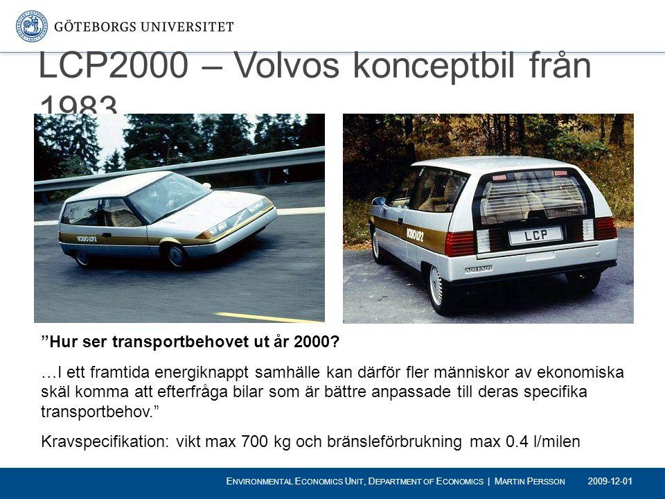 """LCP2000 – Volvos konceptbil från 1983 """"Hur ser transportbehovet ut år 2000? …I ett framtida energiknappt samhälle kan därför fler människor av ekonomi"""