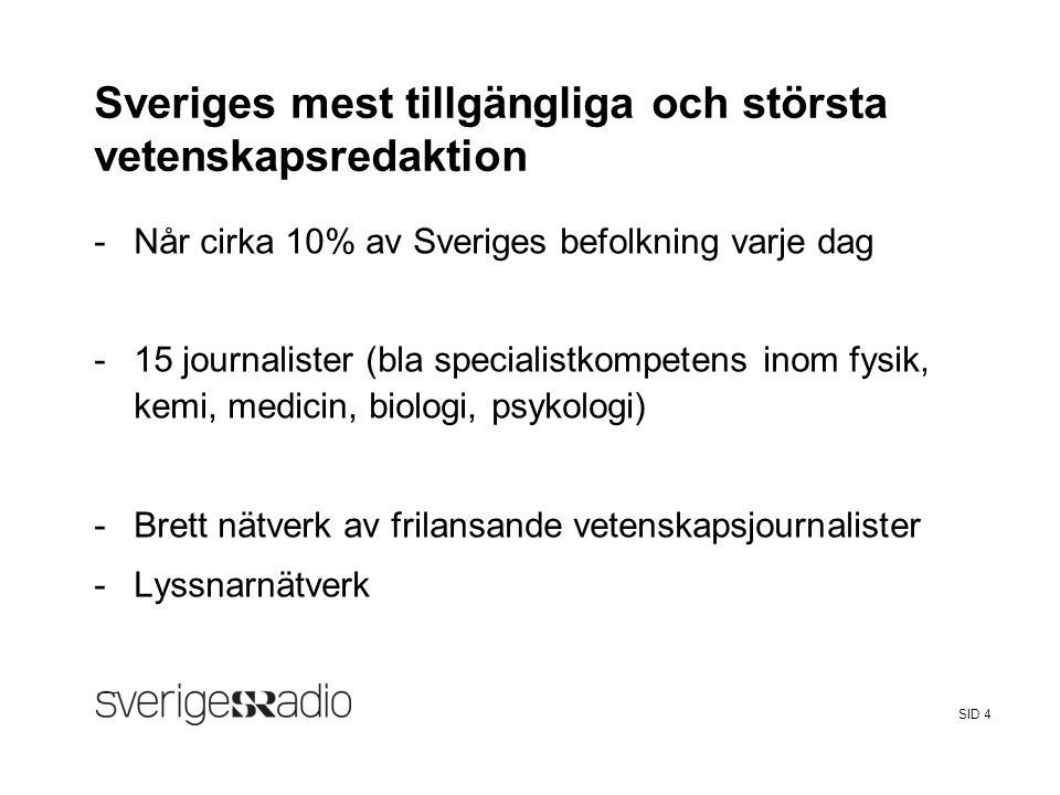 FalseSveriges Radio SID 4 Sveriges mest tillgängliga och största vetenskapsredaktion -Når cirka 10% av Sveriges befolkning varje dag -15 journalister