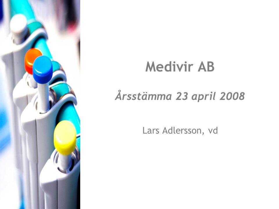 Medivir AB Årsstämma 23 april 2008 Lars Adlersson, vd