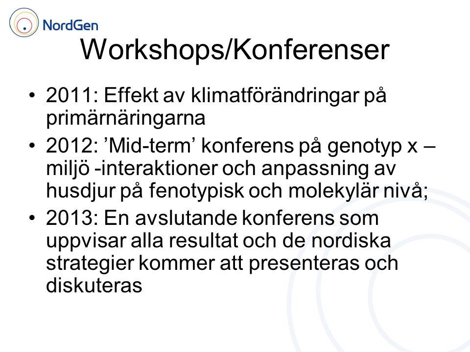Workshops/Konferenser •2011: Effekt av klimatförändringar på primärnäringarna •2012: 'Mid-term' konferens på genotyp x – miljö -interaktioner och anpassning av husdjur på fenotypisk och molekylär nivå; •2013: En avslutande konferens som uppvisar alla resultat och de nordiska strategier kommer att presenteras och diskuteras