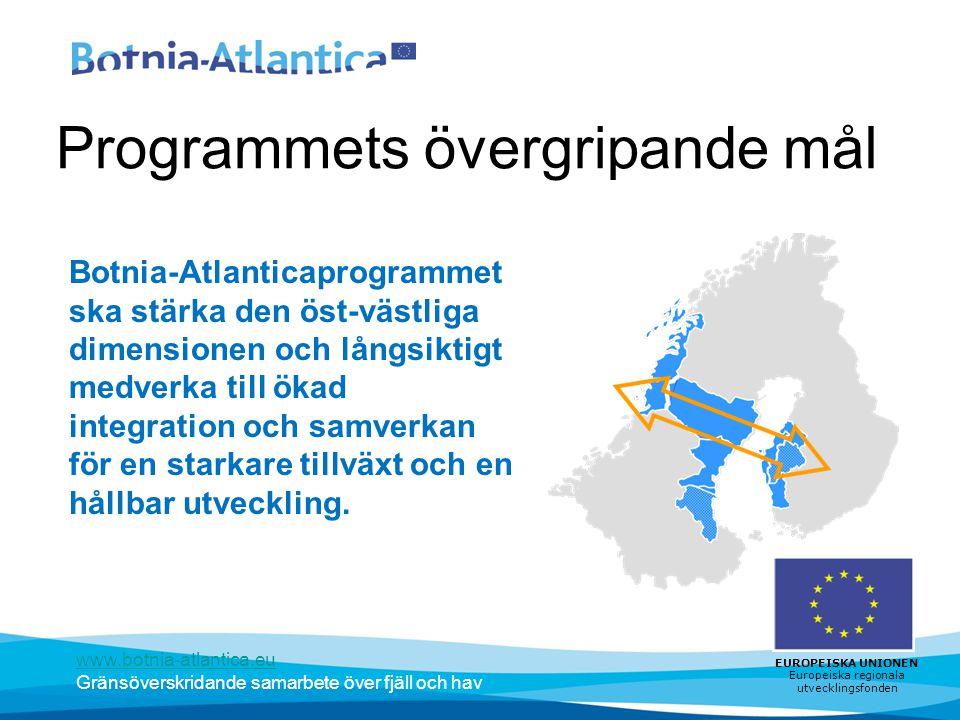 www.botnia-atlantica.eu Gränsöverskridande samarbete över fjäll och hav EUROPEISKA UNIONEN Europeiska regionala utvecklingsfonden Programmets övergripande mål Botnia-Atlanticaprogrammet ska stärka den öst-västliga dimensionen och långsiktigt medverka till ökad integration och samverkan för en starkare tillväxt och en hållbar utveckling.