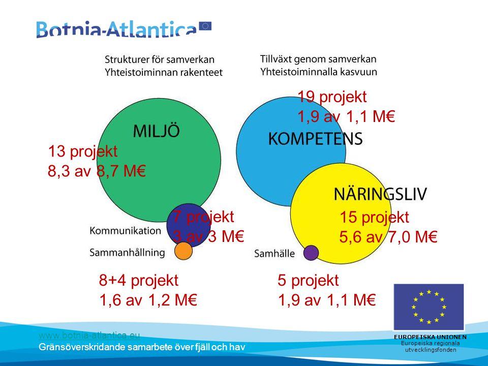 www.botnia-atlantica.eu Gränsöverskridande samarbete över fjäll och hav EUROPEISKA UNIONEN Europeiska regionala utvecklingsfonden 13 projekt 8,3 av 8,7 M€ 7 projekt 3 av 3 M€ 8+4 projekt 1,6 av 1,2 M€ 19 projekt 1,9 av 1,1 M€ 15 projekt 5,6 av 7,0 M€ 5 projekt 1,9 av 1,1 M€