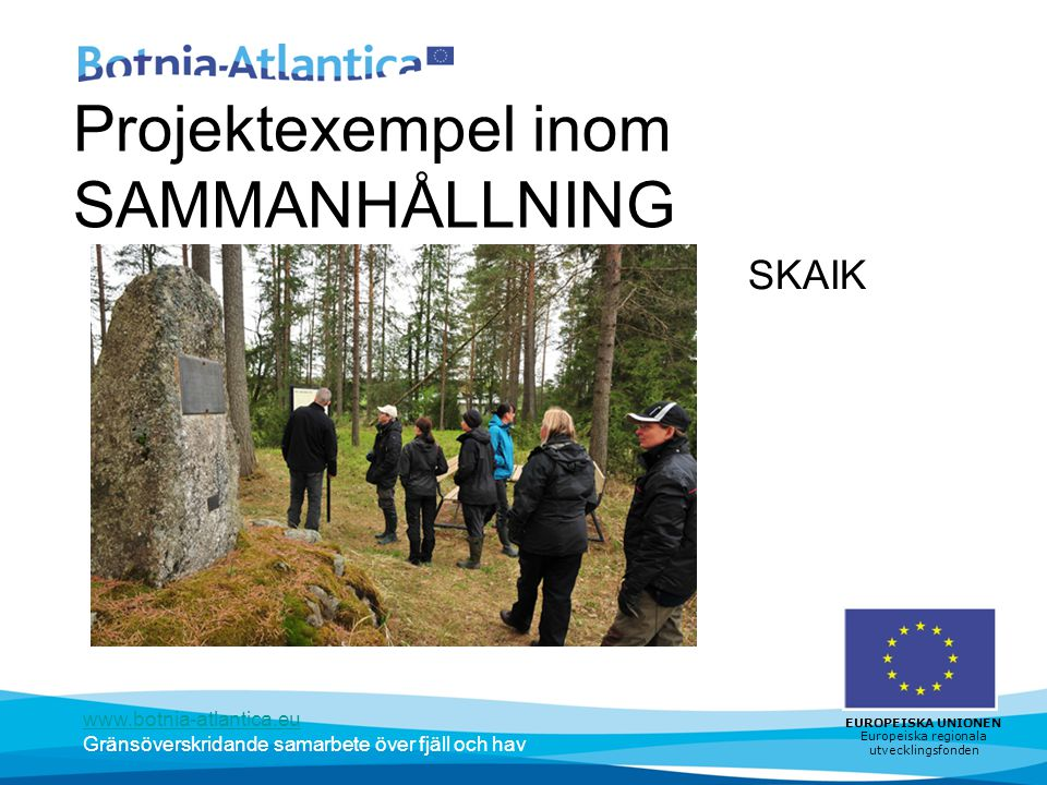 www.botnia-atlantica.eu Gränsöverskridande samarbete över fjäll och hav EUROPEISKA UNIONEN Europeiska regionala utvecklingsfonden Projektexempel inom SAMMANHÅLLNING SKAIK