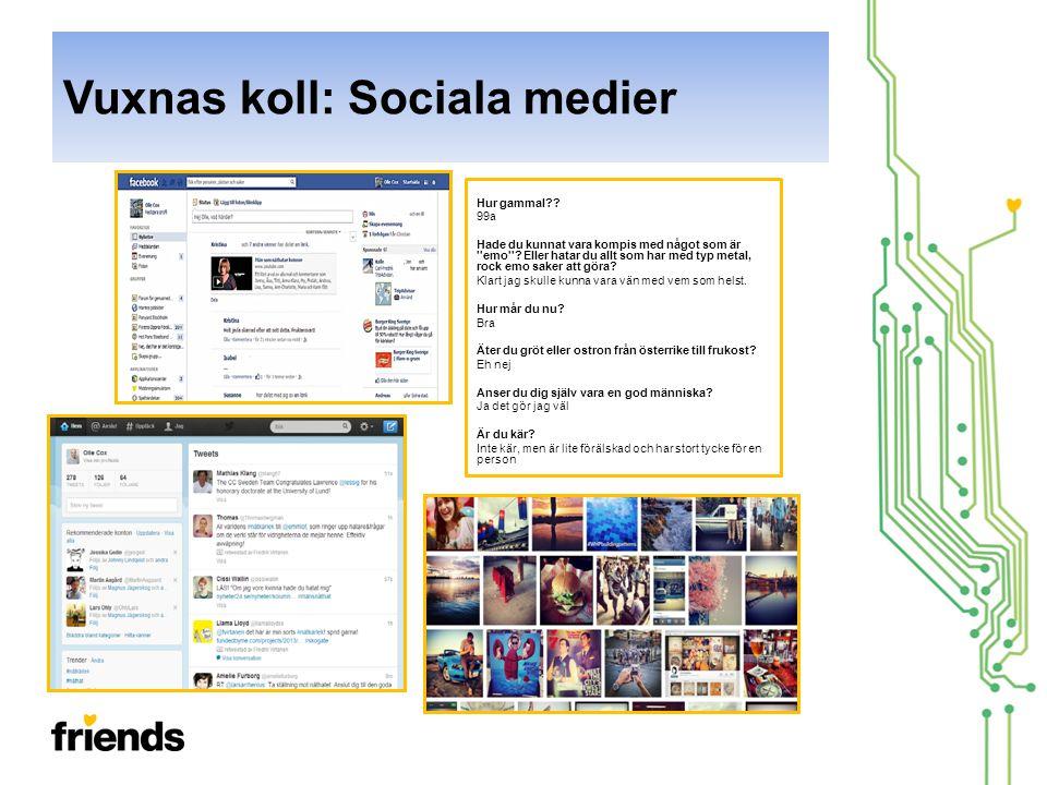 Vuxnas koll: Sociala medier Hur gammal?.99a Hade du kunnat vara kompis med något som är emo .