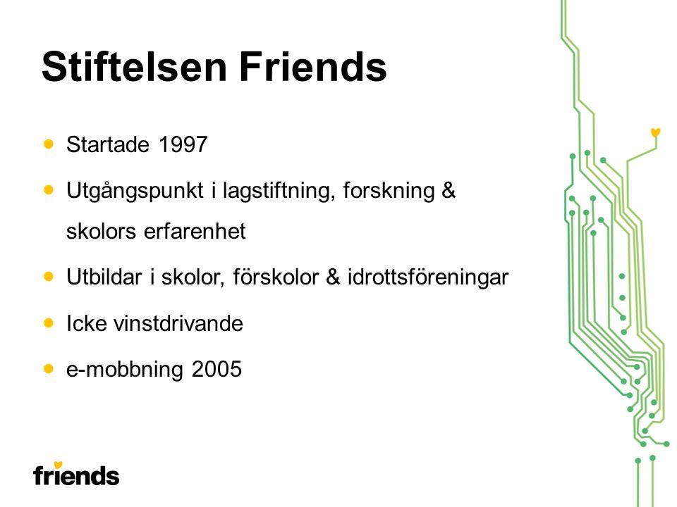 Stiftelsen Friends Startade 1997 Utgångspunkt i lagstiftning, forskning & skolors erfarenhet Utbildar i skolor, förskolor & idrottsföreningar Icke vinstdrivande e-mobbning 2005