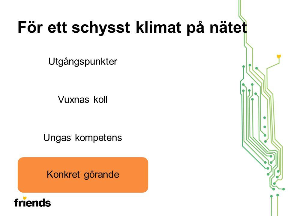För ett schysst klimat på nätet UtgångspunkterVuxnas kollUngas kompetensKonkret görande