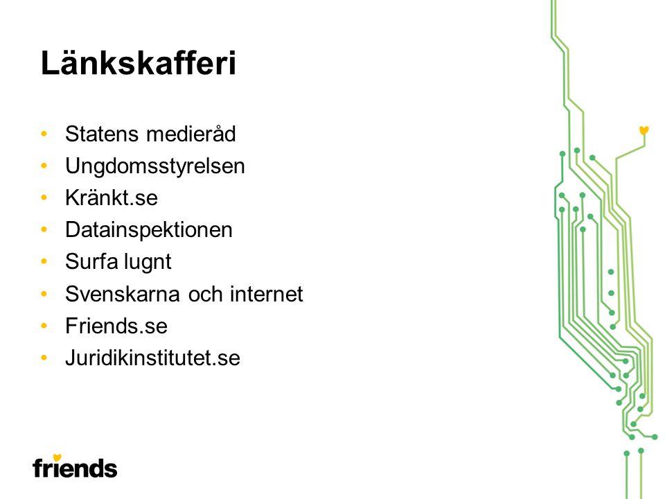 Länkskafferi •Statens medieråd •Ungdomsstyrelsen •Kränkt.se •Datainspektionen •Surfa lugnt •Svenskarna och internet •Friends.se •Juridikinstitutet.se