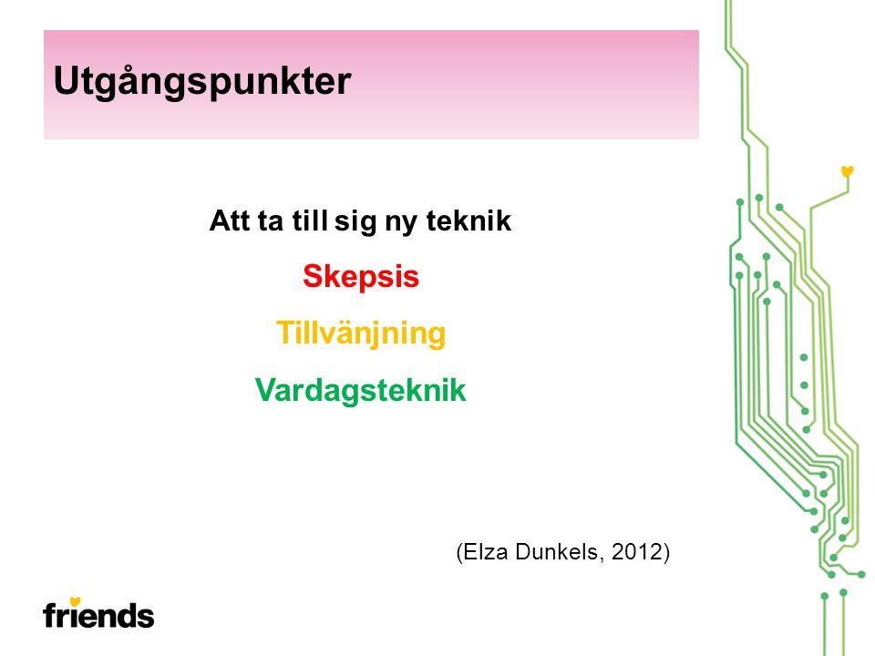 Att ta till sig ny teknik Skepsis Tillvänjning Vardagsteknik (Elza Dunkels, 2012) Utgångspunkter