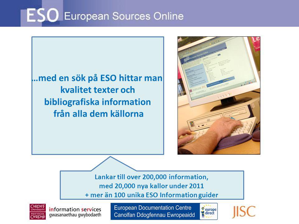…med en sök på ESO hittar man kvalitet texter och bibliografiska information från alla dem källorna Lankar till over 200,000 information, med 20,000 nya kallor under 2011 + mer än 100 unika ESO Information guider