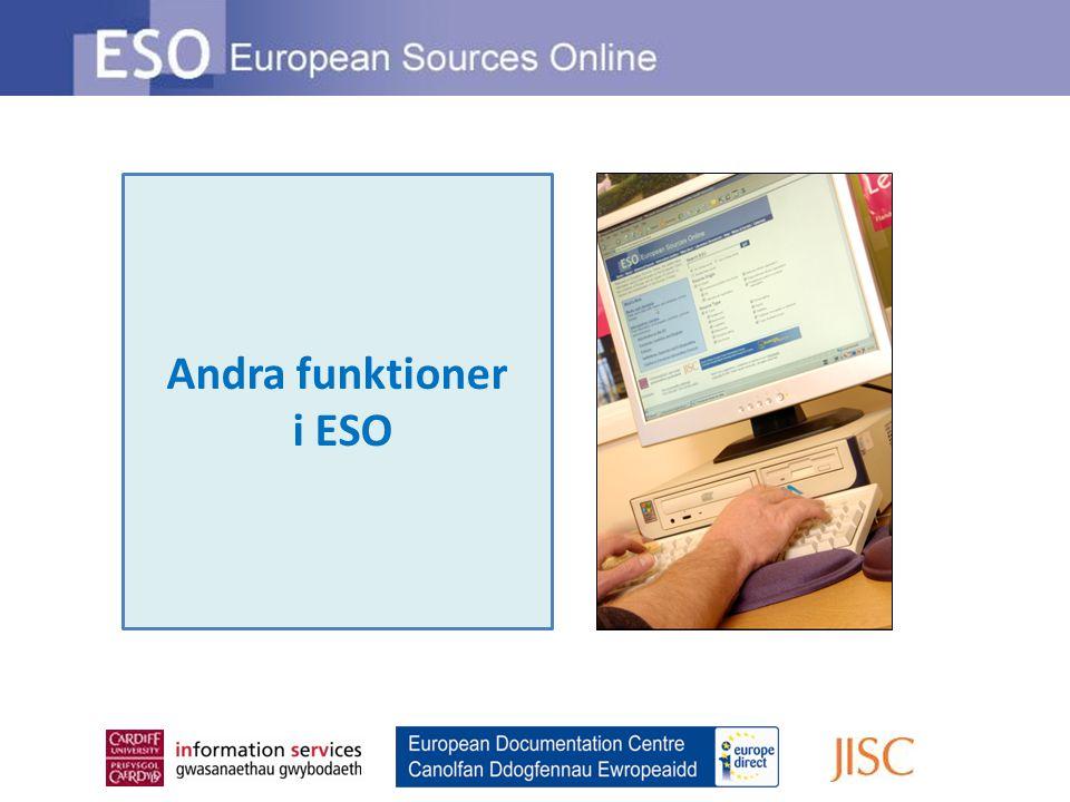 Andra funktioner i ESO