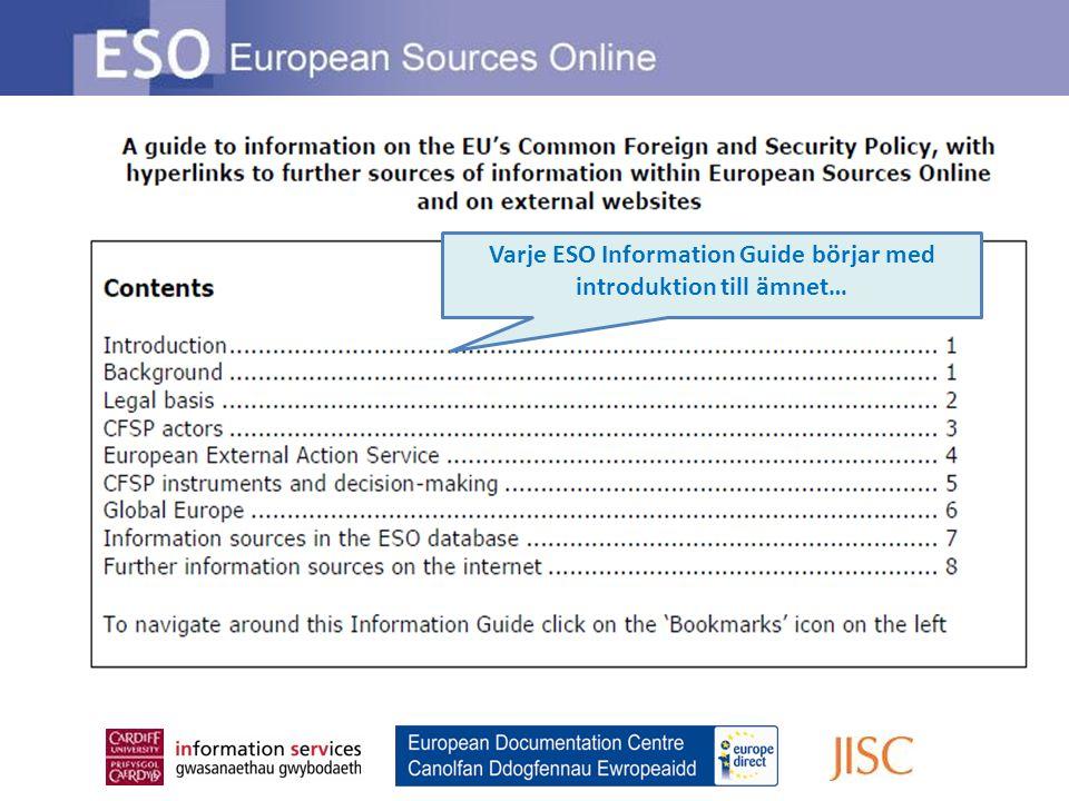 Varje ESO Information Guide börjar med introduktion till ämnet…
