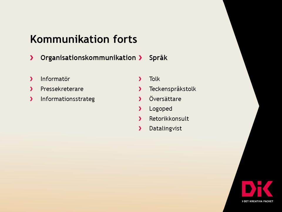 Kommunikation forts Organisationskommunikation Informatör Pressekreterare Informationsstrateg Språk Tolk Teckenspråkstolk Översättare Logoped Retorikk