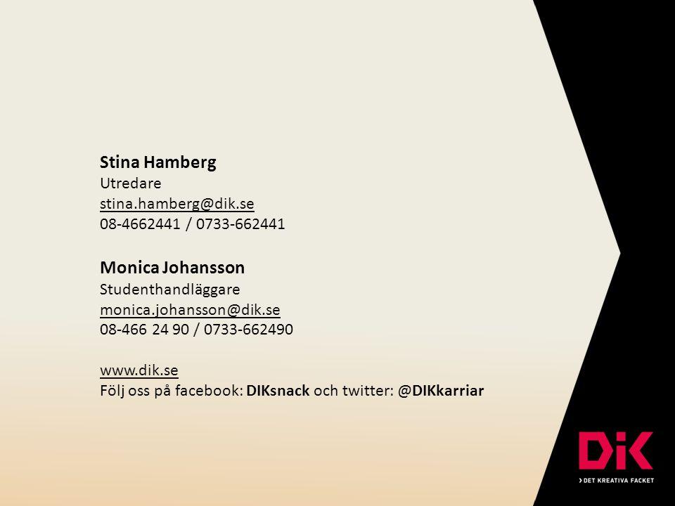 Stina Hamberg Utredare stina.hamberg@dik.se 08-4662441 / 0733-662441 Monica Johansson Studenthandläggare monica.johansson@dik.se 08-466 24 90 / 0733-6