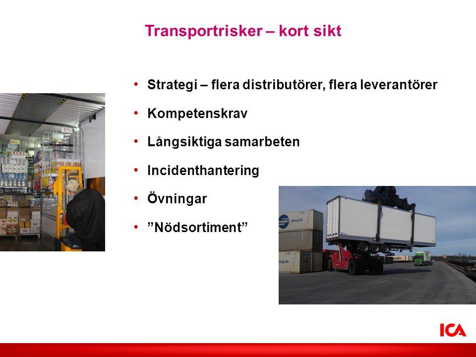 Transportrisker – kort sikt • Strategi – flera distributörer, flera leverantörer • Kompetenskrav • Långsiktiga samarbeten • Incidenthantering • Övning