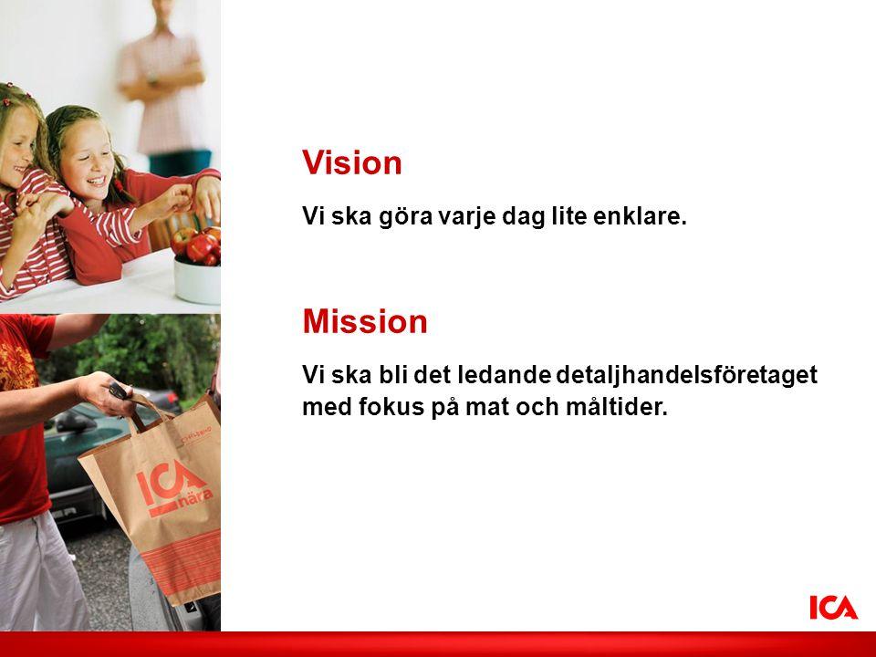 Vision Vi ska göra varje dag lite enklare. Mission Vi ska bli det ledande detaljhandelsföretaget med fokus på mat och måltider.