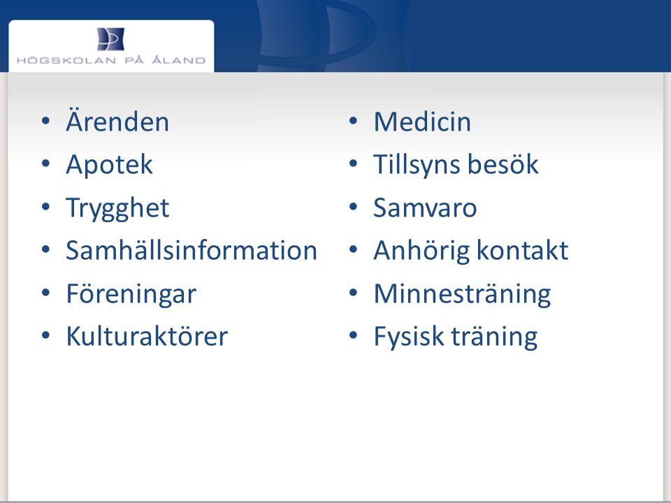 • Ärenden • Apotek • Trygghet • Samhällsinformation • Föreningar • Kulturaktörer • Medicin • Tillsyns besök • Samvaro • Anhörig kontakt • Minnestränin