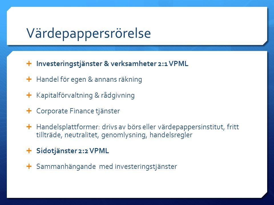 Värdepappersrörelse  Investeringstjänster & verksamheter 2:1 VPML  Handel för egen & annans räkning  Kapitalförvaltning & rådgivning  Corporate Fi