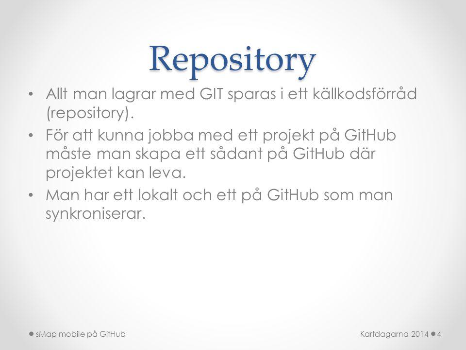 Repository • Allt man lagrar med GIT sparas i ett källkodsförråd (repository). • För att kunna jobba med ett projekt på GitHub måste man skapa ett såd