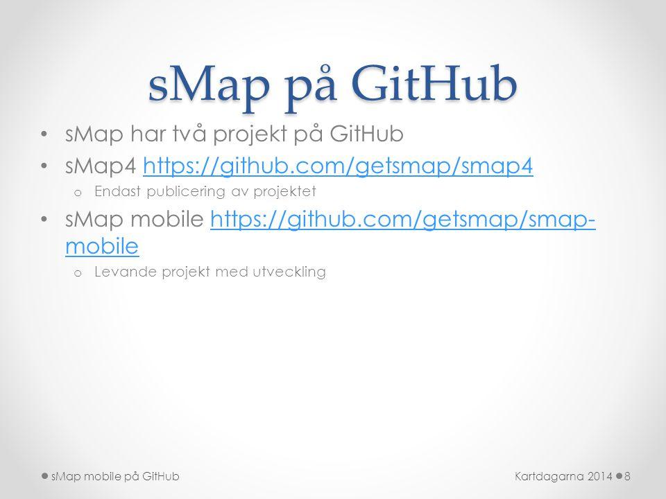 sMap på GitHub • sMap har två projekt på GitHub • sMap4 https://github.com/getsmap/smap4https://github.com/getsmap/smap4 o Endast publicering av proje