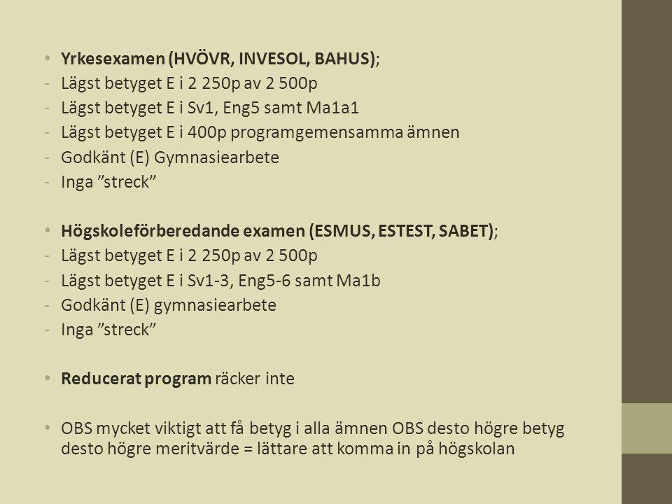 • Yrkesexamen (HVÖVR, INVESOL, BAHUS); -Lägst betyget E i 2 250p av 2 500p -Lägst betyget E i Sv1, Eng5 samt Ma1a1 -Lägst betyget E i 400p programgeme