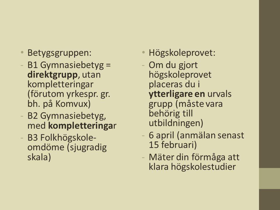 • Betygsgruppen: -B1 Gymnasiebetyg = direktgrupp, utan kompletteringar (förutom yrkespr. gr. bh. på Komvux) -B2 Gymnasiebetyg, med kompletteringar -B3