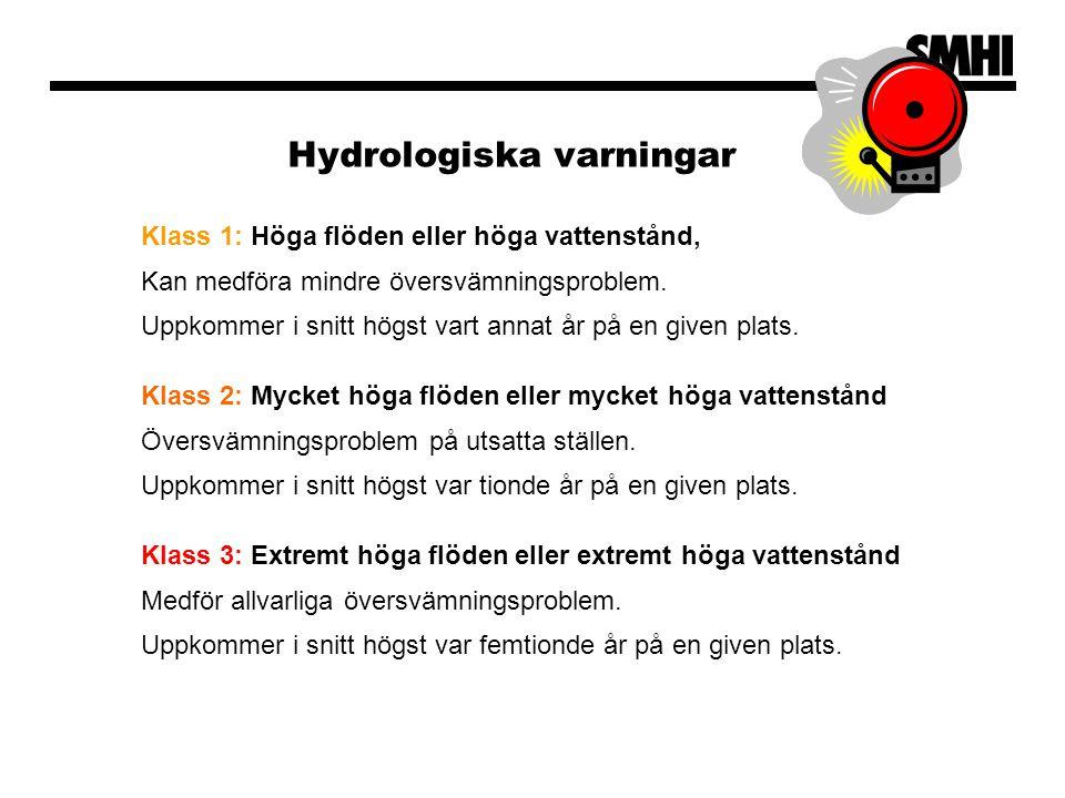 Hydrologiska varningar Klass 1: Höga flöden eller höga vattenstånd, Kan medföra mindre översvämningsproblem. Uppkommer i snitt högst vart annat år på