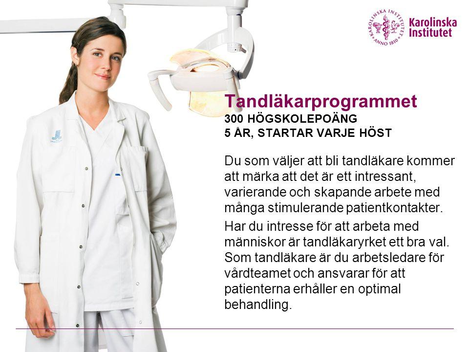 Tandläkarprogrammet 300 HÖGSKOLEPOÄNG 5 ÅR, STARTAR VARJE HÖST Du som väljer att bli tandläkare kommer att märka att det är ett intressant, varierande och skapande arbete med många stimulerande patientkontakter.