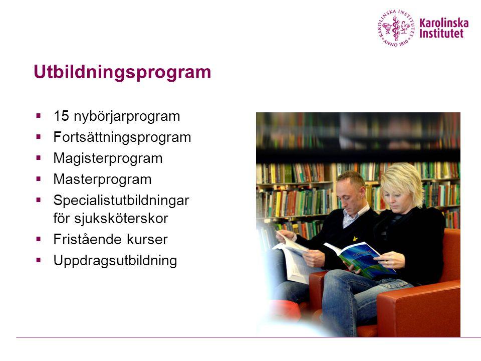 Utbildningsprogram  15 nybörjarprogram  Fortsättningsprogram  Magisterprogram  Masterprogram  Specialistutbildningar för sjuksköterskor  Fristående kurser  Uppdragsutbildning