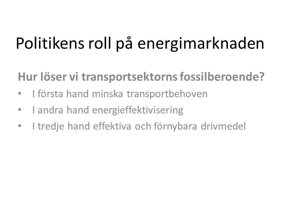 Politikens roll på energimarknaden Hur löser vi transportsektorns fossilberoende.