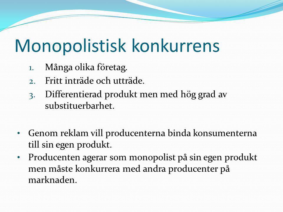 1. Många olika företag. 2. Fritt inträde och utträde. 3. Differentierad produkt men med hög grad av substituerbarhet. • Genom reklam vill producentern