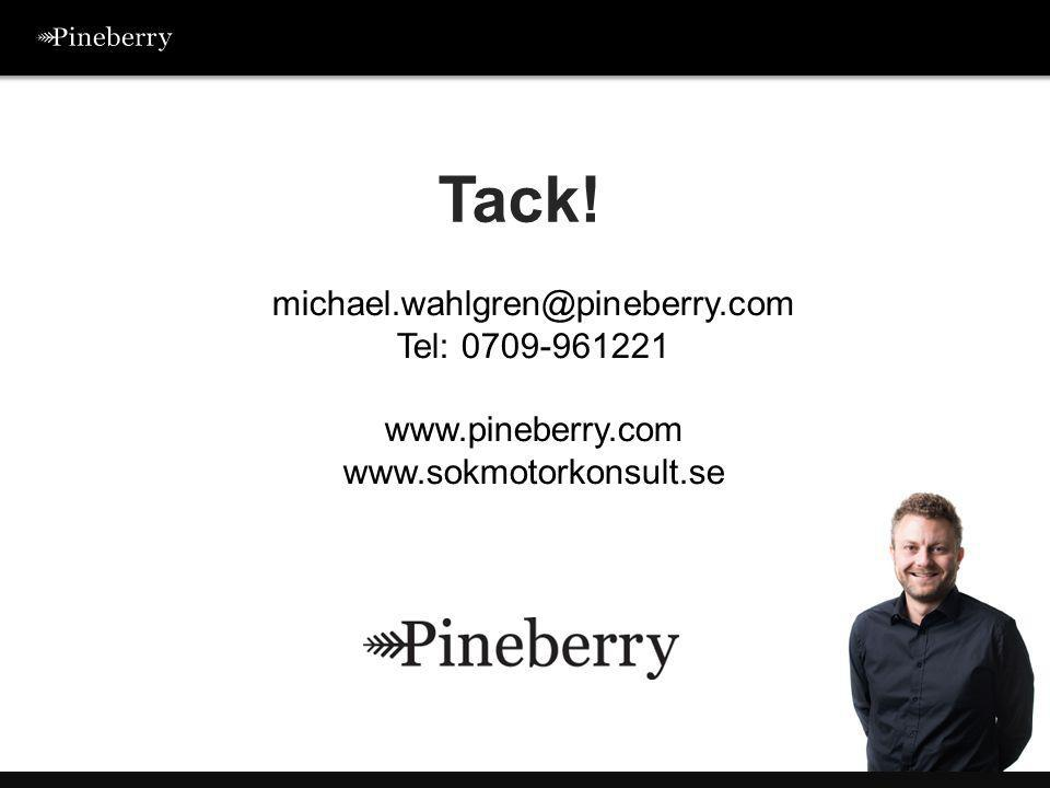 Tack! michael.wahlgren@pineberry.com Tel: 0709-961221 www.pineberry.com www.sokmotorkonsult.se